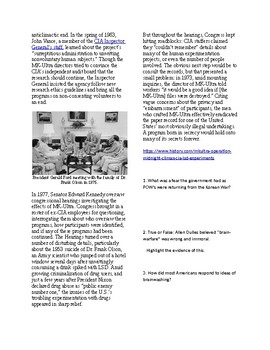Info Reading Text - Psychology: MK Ultra and the CIA's brainwashing experiments