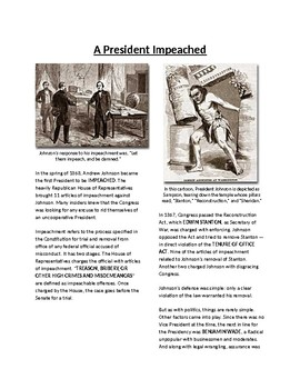 Info Reading Text - Reconstruction: A President Impeached (no prep/sub plans)
