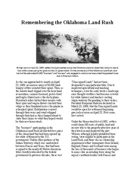 Info Reading Text - Westward Expansion: Oklahoma Land Rush (no prep/sub plan)