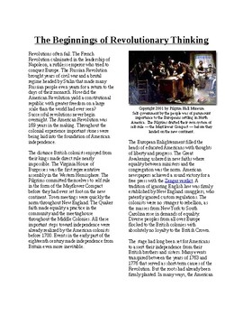 Info Reading Text - Revolutionary Thinking: The Beginnings (no prep/sub plan)