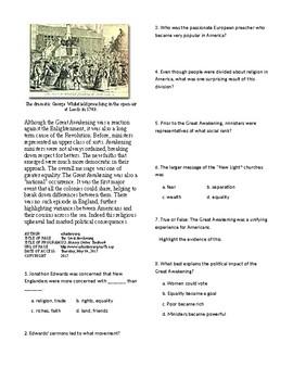 Info Reading Text - Revolutionary Thinking: The Great Awakening (no prep/sub)