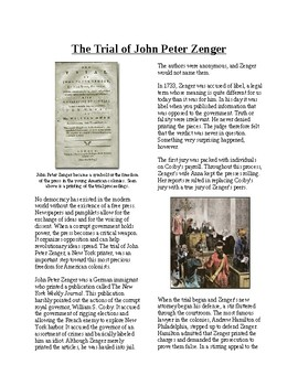 Info Reading Text - Revolutionary Thinking: Zenger Trial/Freedom of Press