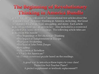 Info Reading Text - Revolutionary Thinking in America Bundle (no prep/sub plan)
