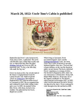 Info Reading Text - Road to the Civil War: Uncle Tom's Cabin is published