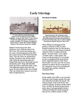 Info Reading Text - Seeking a US Empire: Early Stirrings (no prep/sub plans)