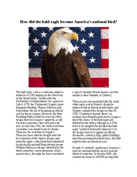 Info Reading Text - Symbols of the US: The Bald Eagle (no prep/sub plan)