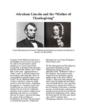 """Info Reading Text - Thanksgiving: Abe Lincoln and the """"Mother of Thanksgiving"""""""