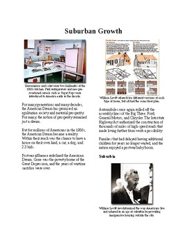 Info Reading Text - The 1950's: Growth of the Suburbs (no prep/sub plans)