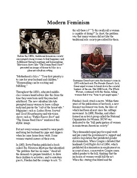 Info Reading Text - The 60's Culture: Modern Feminism (no prep/sub plans)