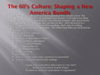 Info Reading Text - The 60's Culture: Shaping a New America (no prep/sub plans)