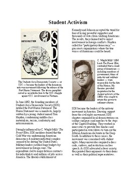 Info Reading Text - The 60's Culture: Student Activism and SDS (no prep/sub plan