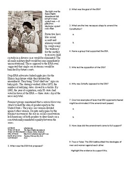 Info Reading Text - The 60's Culture: The Equal Rights Amendment (no prep)