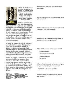 Info Reading Text - The 60's Culture: The Fight for Reproductive Rights