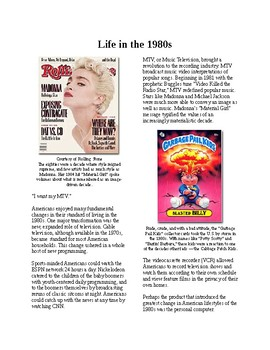 Info Reading Text - The 80's: Life in the 80's (no prep/sub plans)