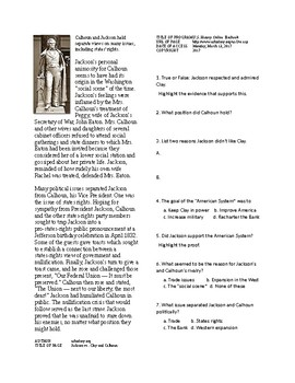 Info Reading Text - The Age of Jackson: Jackson vs. Clay and Calhoun (no prep)