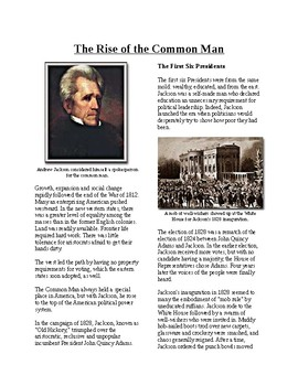 Info Reading Text - The Age of Jackson: Rise of the Common Man (no prep/sub)