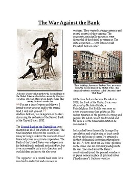 Info Reading Text - The Age of Jackson: War Against the Bank (no prep/sub plan)