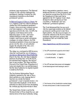 Info Reading Text - The Amendments: The 10th Amendment (no prep/sub plans)
