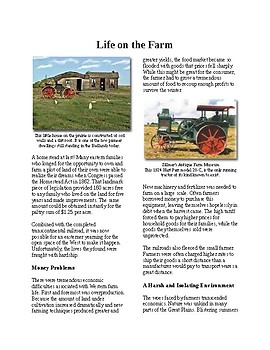 Info Reading Text - The American West: Life on the Farm (no prep/sub plan)