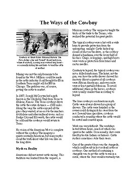 Info Reading Text - The American West: Ways of the Cowboy (no prep/sub plan)