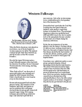 Info Reading Text - The American West: Western Folkways (no prep/sub plan)