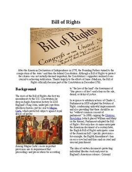 Info Reading Text - The Bill of Rights (no prep/sub plan)