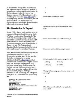 Info Reading Text - The Capture of Ft. Ticonderoga (no prep/sub plans)