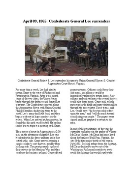 Info Reading Text - The Civil War: Lee Surrenders at Appom