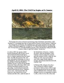Info Reading Text - The Civil War: The Battle of Fort Sumter (no prep/sub plans)