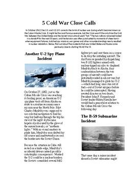 Info Reading Text - The Cold War: 5 Cold War Close Calls (no prep/sub plans)