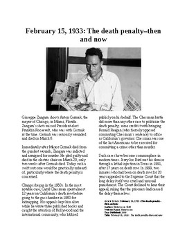 Info Reading Text - The Death Penalty then and now - Giuseppe Zangara (no prep)