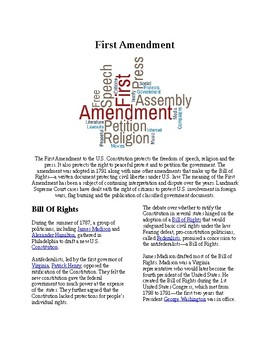 Info Reading Text - The First Amendment (no prep/sub plans)