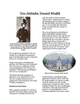 Info Reading Text - The Gilded Age: New Attitudes on Wealth (no prep/sub plans)