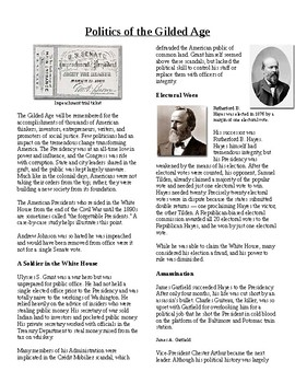 Info Reading Text- The Gilded Age: Politics of the Gilded Age (no prep/sub plan)