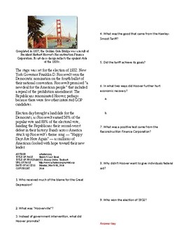 Info Reading Text - The Great Depression: Hoover's Last Stand (no prep/sub plan)