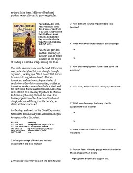 Info Reading Text - The Great Depression: Sinking Deeper and Deeper 29-32