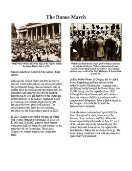 Info Reading Text - The Great Depression: The Bonus March (no prep/sub plans)