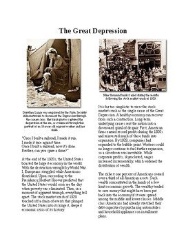 Info Reading Text - The Great Depression (no prep/sub plans)
