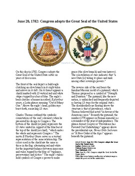 Info Reading Text - The Great Seal of the United States 9 (no prep/sub plan)