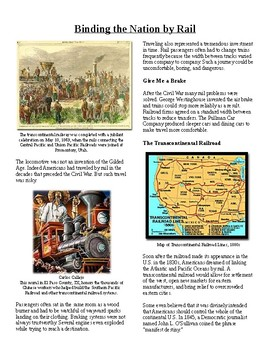 Info Reading Text- The Gilded Age: Binding the Nation by Rail (no prep/sub plan
