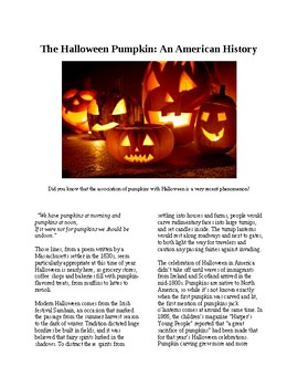 Info Reading Text - The Halloween Pumpkin: An American History (no prep/sub plan