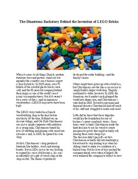 Info Reading Text - Inventions: The Invention of LEGO's (no prep/sub plans)