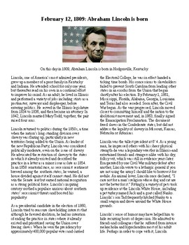 Info Text Vocab - President's Day: Abraham Lincoln is Born (no prep/sub plan)