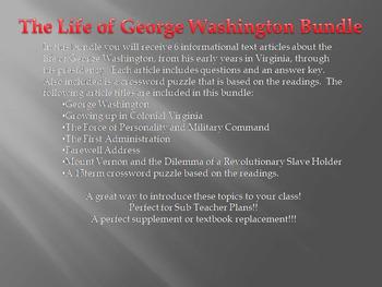 Info Reading Text - The Life of George Washington Bundle (no prep/sub plans)
