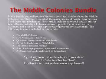 Info Reading Text - The Middle Colonies Bundle (no prep/sub plans)