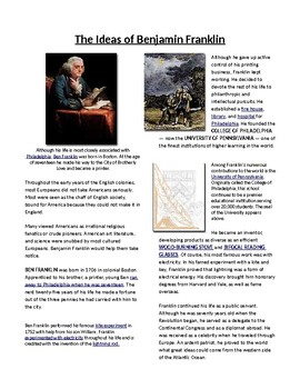 Info Reading Text - The Middle Colonies: Ideas of Ben Franklin (no prep/sub plan