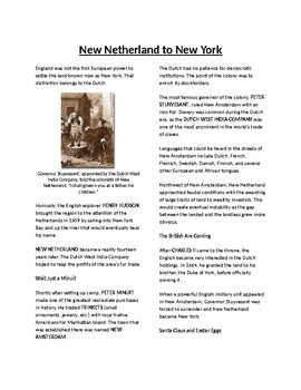 Info Reading Text - The Middle Colonies: New Netherland to New York (no prep)