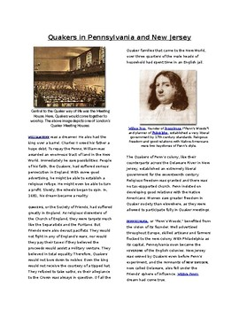 Info Reading Text -The Middle Colonies: Quakers in Penn and New Jersey (no prep)