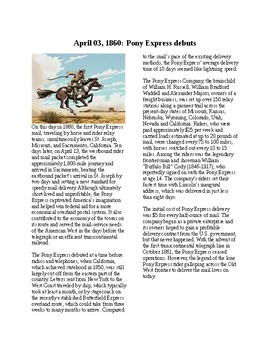 Info Reading Text - The Old West: The Pony Express (no prep/sub plans)