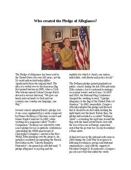 Info Reading Text - The Pledge of Allegiance (no prep/sub plans)